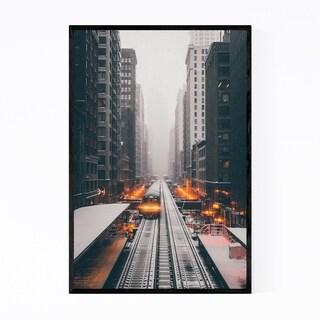 Noir Gallery L Train Chicago Illinois Urban  Framed Art Print