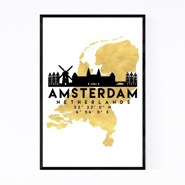 Noir Gallery Minimal Amsterdam Skyline Framed Art Print
