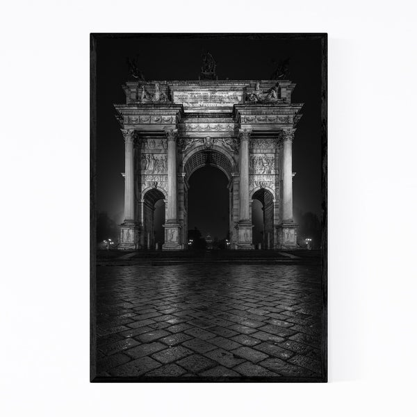 Noir Gallery Black & White Milan Italy Arch Framed Art Print