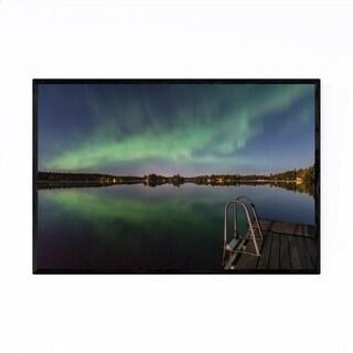 Noir Gallery Aurora Borealis Lake Sweden Framed Art Print