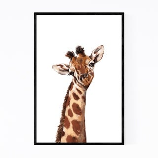 Noir Gallery Cute Giraffe Peekaboo Animal Framed Art Print