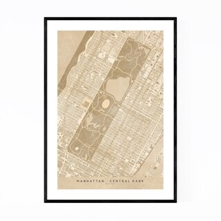 Noir Gallery Tan Manhattan New York City Map Framed Art Print