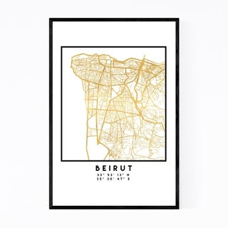 Noir Gallery Minimal Beirut City Map Framed Art Print