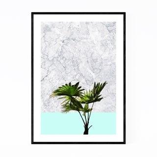Noir Gallery Minimal Palm Plant Blue Pastel Framed Art Print