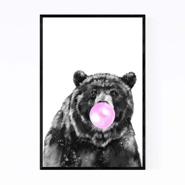 Noir Gallery Cute Pink Bear Peekaboo Animal Framed Art Print