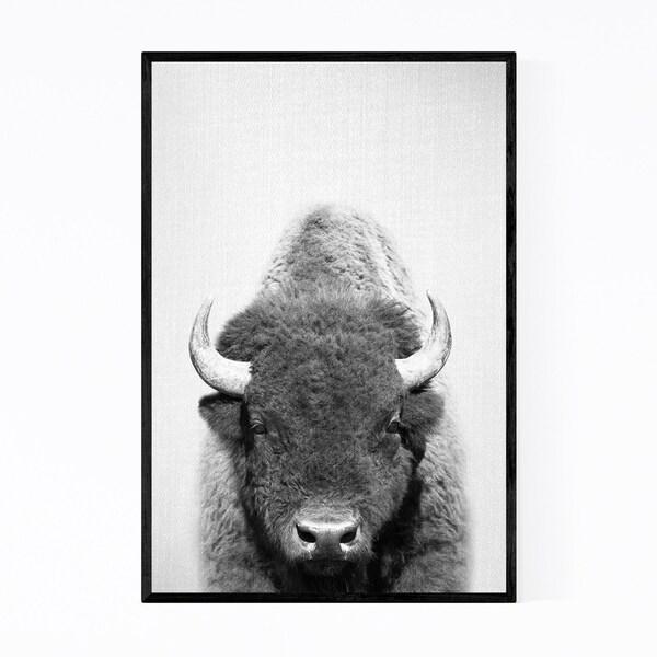 Noir Gallery Cute Buffalo Peekaboo Animal Framed Art Print