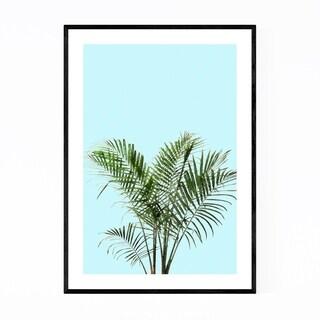 Noir Gallery Minimal Palm Plant Teal Framed Art Print
