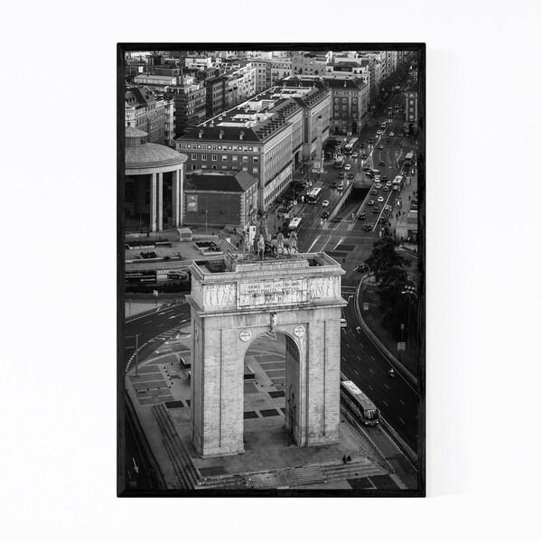 Noir Gallery Black & White Madrid Spain City Framed Art Print
