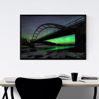 Noir Gallery Aurora Borealis Bridge Sweden Framed Art Print