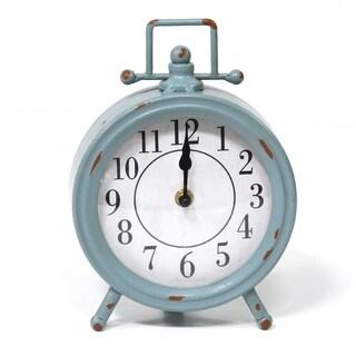Stratton Home Decor Dorothy Vintage Blue Metal Table Clock