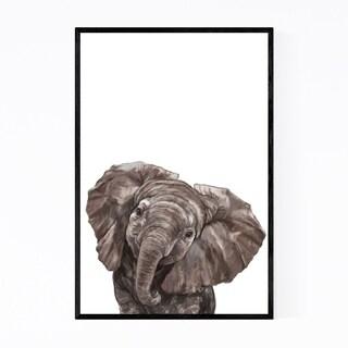Noir Gallery Baby Elephant Peekaboo Animal Framed Art Print