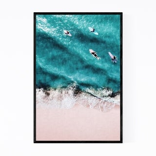 Noir Gallery Beach Surfers Ocean Wave Sand Framed Art Print