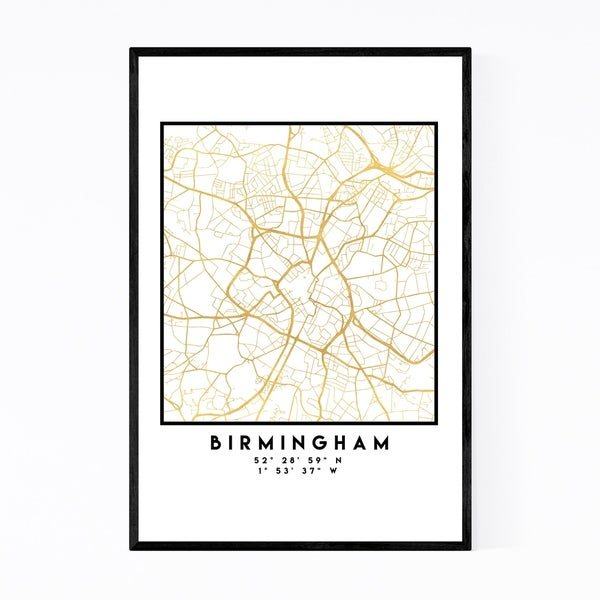 Noir Gallery Minimal Birmingham City Map Framed Art Print