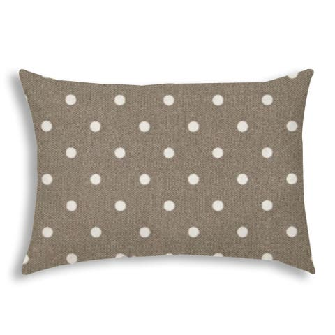 DINER DOT Taupe Indoor/Outdoor Pillow - Sewn Closure