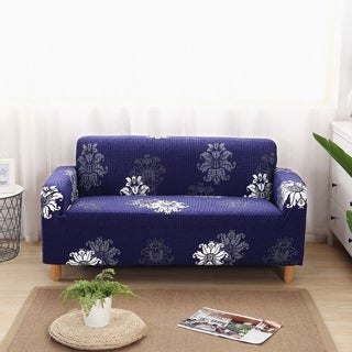 Enova Home Navy Blue Elegant Polyester and Spandex Stretch Washable Box Cushion Loveseat Slipcover