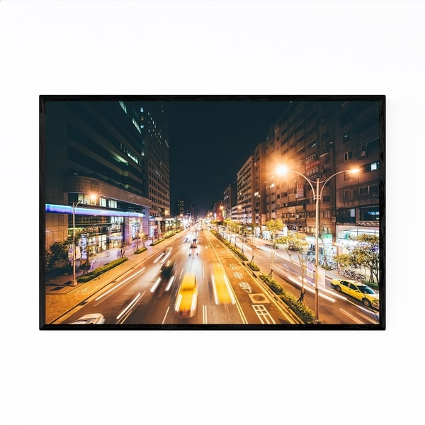 Noir Gallery Taipei Night Traffic Cityscape Framed Art Print