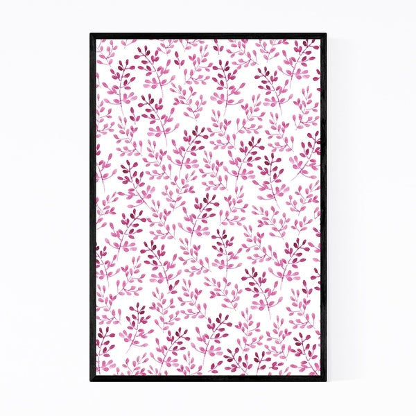 Noir Gallery Twigs Pink Pattern Floral Framed Art Print