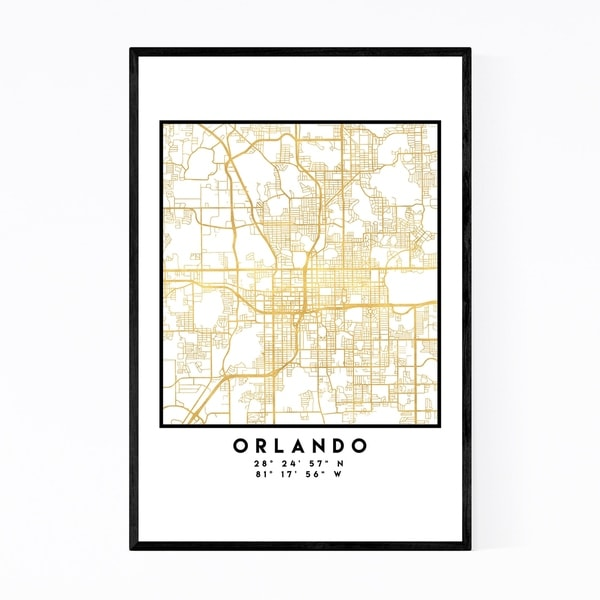 Noir Gallery Minimal Orlando City Map Framed Art Print