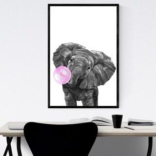 Noir Gallery Pink Elephant Peekaboo Animal Framed Art Print
