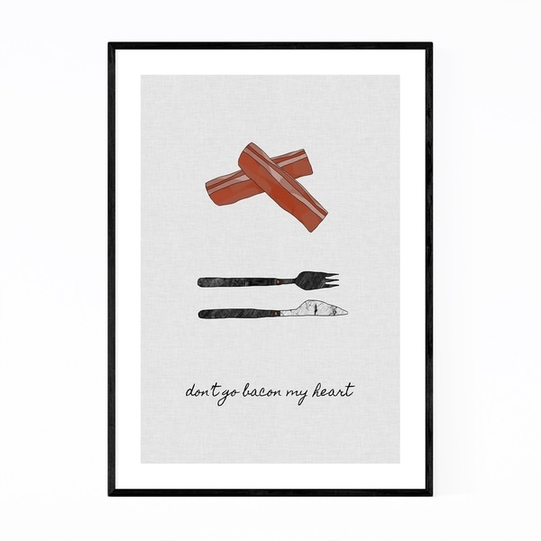 Noir Gallery Cute Bacon Kitchen Typography Framed Art Print