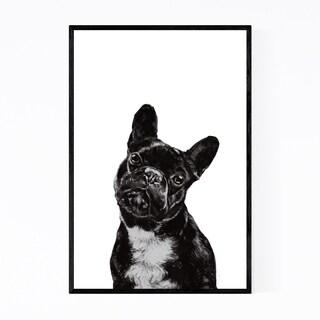 Noir Gallery Cute Bulldog Peekaboo Animal Framed Art Print