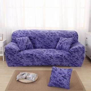 Enova Home Blue Elegant Polyester and Spandex Stretch Washable Box Cushion Sofa Slipcover