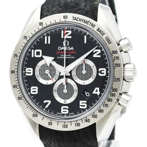 Omega Men's 321.13.44.50.01.001 'Speedmaster Broad Arrow' Chronograph Black Leather Watch