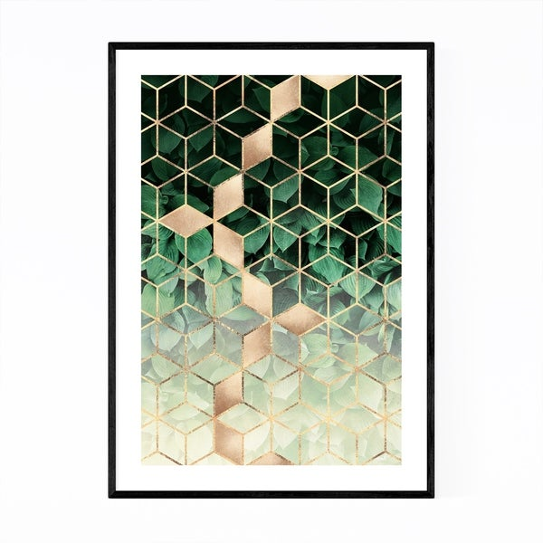 Noir Gallery Green Art Deco Geometric Design Framed Art Print