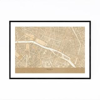Noir Gallery Minimal Sepia Paris City Map Framed Art Print