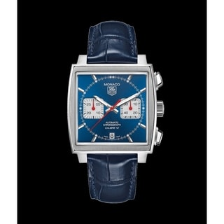 Link to Tag Heuer Men's CAW2111.FT6021 'Monaco' Chronograph Blue Leather Watch Similar Items in Men's Watches