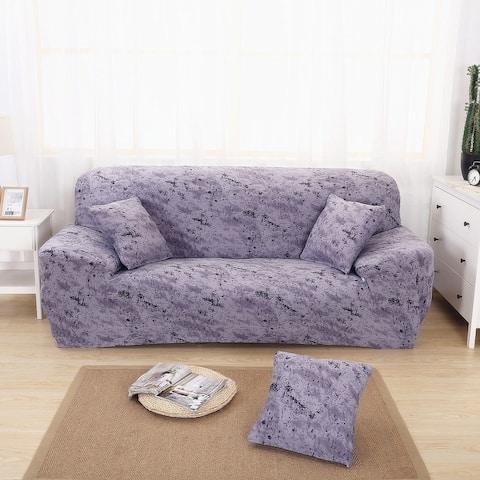 Enova Home Purple Grey Elegant Polyester and Spandex Stretch Washable Box Cushion Sofa Slipcover