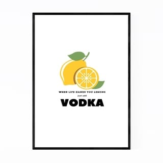 Noir Gallery Yellow Vodka Alcohol Typography Framed Art Print