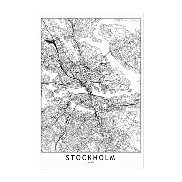Noir Gallery Stockholm Black & White City Map Unframed Art Print/Poster