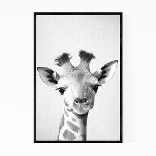 Noir Gallery Baby Giraffe Peekaboo Animal Framed Art Print