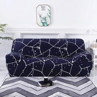Enova Home Dark Blue Elegant Polyester and Spandex Stretch Washable Box Cushion Sofa Slipcover
