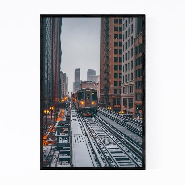 Noir Gallery Chicago Snow Storm Winter City Framed Art Print