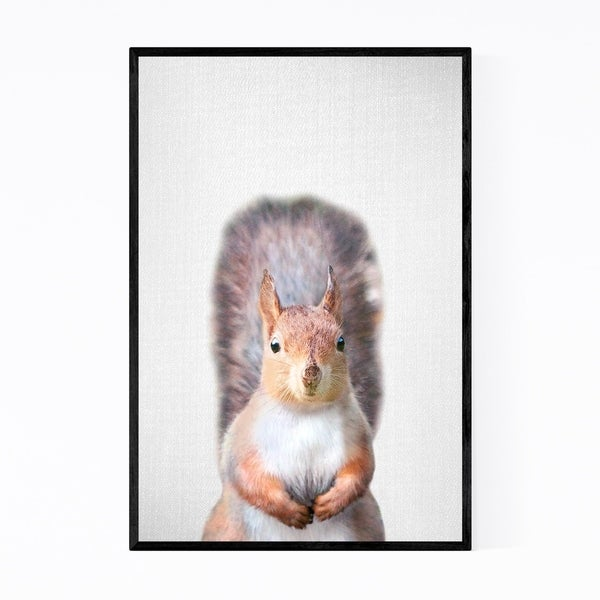 Noir Gallery Squirrel Nursery Peeking Animal Framed Art Print