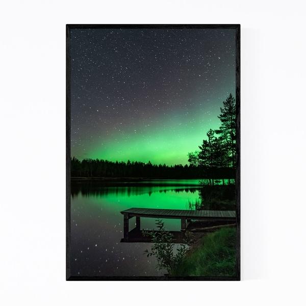 Noir Gallery Aurora Borealis Lake Night Sky Framed Art Print