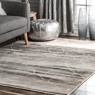 Strick & Bolton Lanza Grey Abstract Diamond Fringed Area Rug