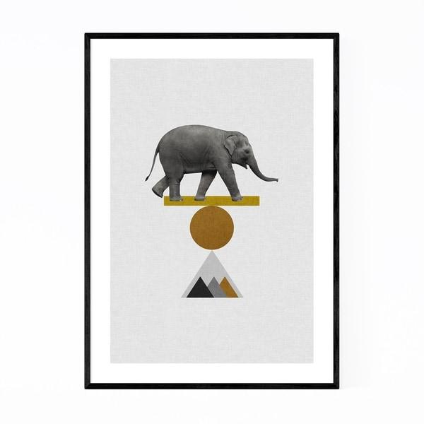 Noir Gallery Abstract Geometric Elephant Framed Art Print