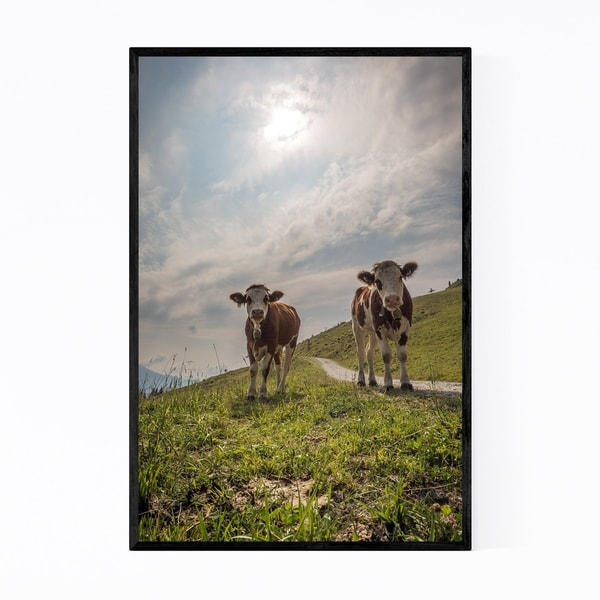 Noir Gallery Cows Mountains Austria Farm Framed Art Print