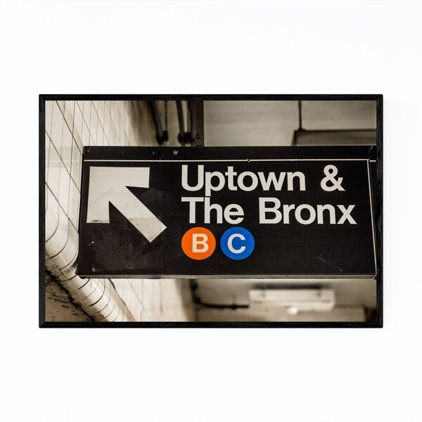 Noir Gallery Uptown Subway Sign New York City Framed Art Print