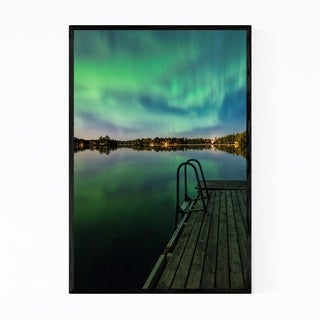 Noir Gallery Aurora Borealis Lake Sweden Framed Art Print
