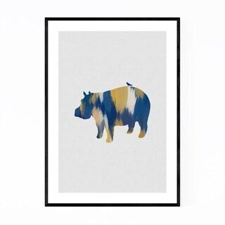 Noir Gallery Blue Abstract Hippo Animal Framed Art Print