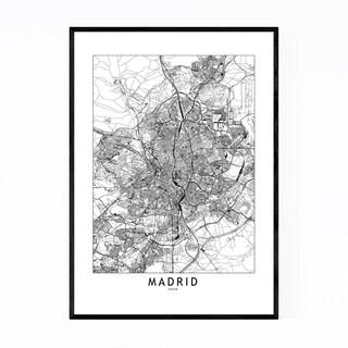 Noir Gallery Madrid Black & White City Map Framed Art Print