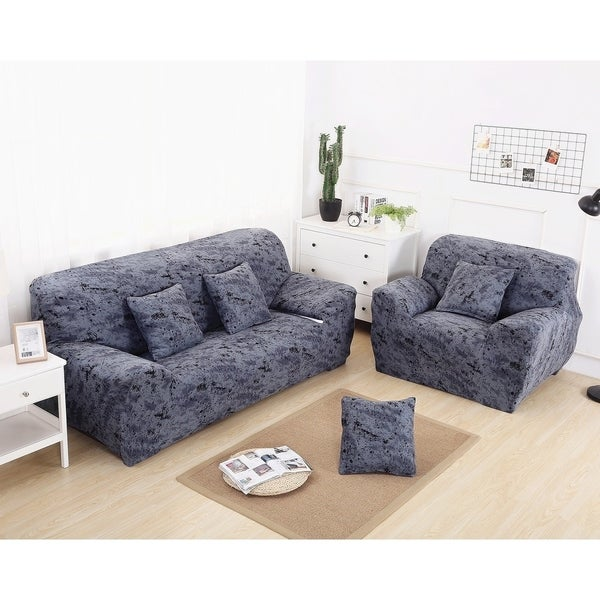 Home Décor Enova Home Elegant Polyester And Spandex Stretch Fabric Washable Box Cushion Loveseat Slipcover Furniture Protector For Living Room Blue Star Loveseat Home Kitchen Fenz Si