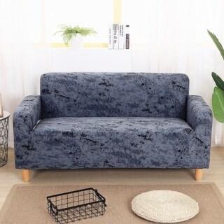 Enova Home Dark Grey Elegant Polyester and Spandex Stretch Washable Box Cushion Loveseat Slipcover