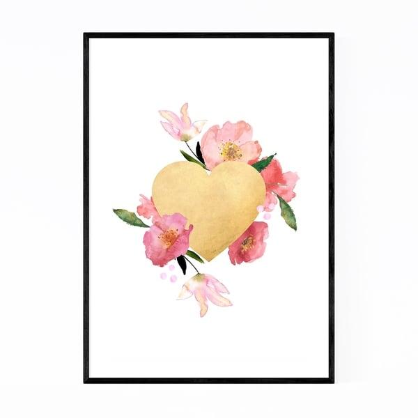 Noir Gallery Gold Floral Heart Love Wedding Framed Art Print