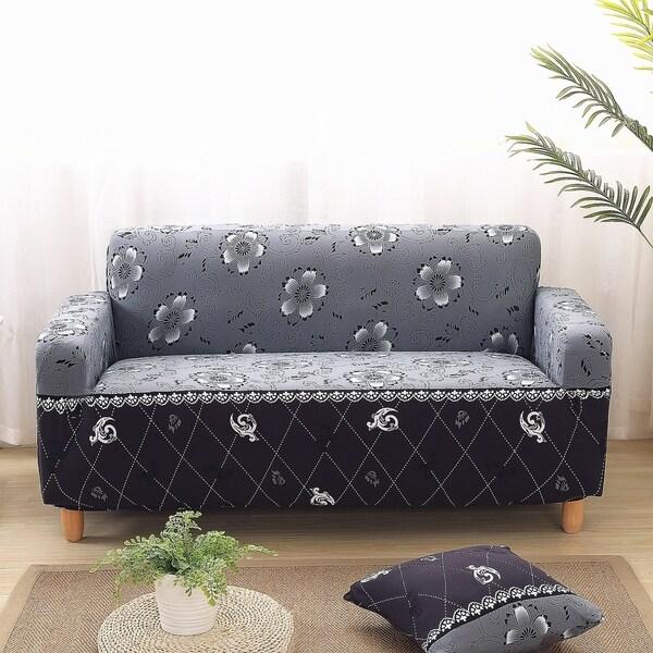 Enova Home Grey Elegant Polyester and Spandex Stretch Washable Box Cushion Loveseat Slipcover
