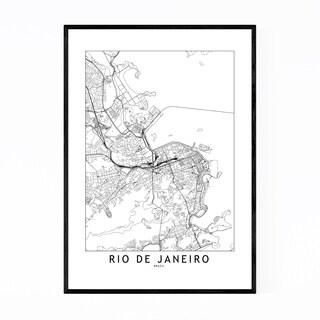 Noir Gallery Rio De Janeiro Brazil City Map Framed Art Print